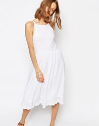 Asos Midi Sundress With Dropped Pep Hem White