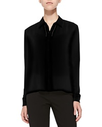 Alice Olivia Perforated Long Sleeve Silk Blouse