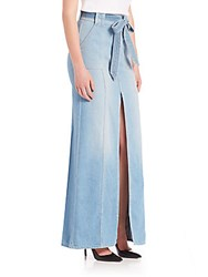 7 For All Mankind Long Belted Skirt With Slit And Pockets Amalfi Sea