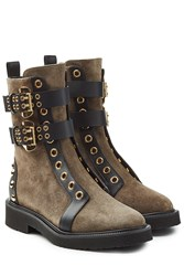 Giuseppe Zanotti Suede Boots With Leather Trim Brown
