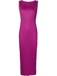 Pleats Please By Issey Miyake Pleated Tank Dress Pink And Purple