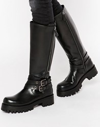 Park Lane Strap Chunky Leather Knee Boots Black