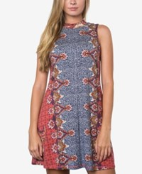O'neill Juniors' Lucy Printed Shift Dress Dusty Cedar