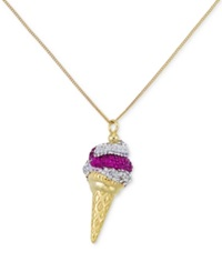 Sis By Simone I Smith Sis By Simone I. Smith Pink And Clear Crystal Ice Cream Cone Pendant Necklace In 18K Gold Over Sterling Silver