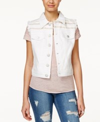 American Rag Embellished White Wash Denim Vest Only At Macy's