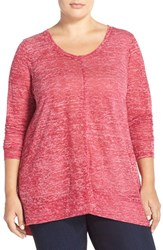 Plus Size Women's Sejour Heathered Scoop Neck Tee Red Triblend Pattern