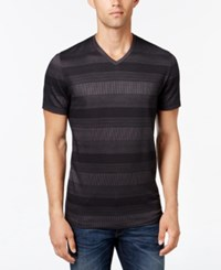 Alfani Men's Big And Tall Stripe V Neck T Shirt Deep Black Combo