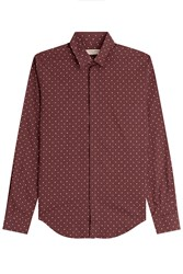 Burberry London Slim Fit Printed Silk Cotton Shirt Red