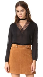 Alice Olivia Kailtlyn V Neck Lace Blouse Black