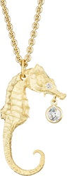 Finn Gold Large Seahorse With Diamond Charm Pendant Necklace