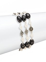 Stephen Dweck Pearls 3Mm Round Pearl Black Agate And Sterling Silver Bracelet