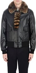 Givenchy Fur Collar Leather Bomber Jacket Black