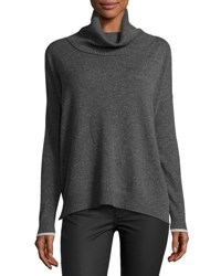 Three Dots Raleigh Cashmere Cowl Neck Sweater Charcoal