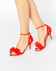 Miss Kg Caiden Bow Heeled Sandals Red Suedette