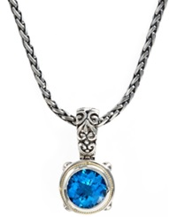 Effy Collection Balissima By Effy Blue Topaz Round Pendant 5 3 4 Ct. T.W. In 18K Gold And Sterling Silver