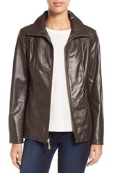 Women's Ellen Tracy Stand Collar Leather Jacket Brown