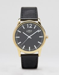 Limit Black Leather Watch With Black Dial Exclusive To Asos Black