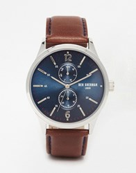 Ben Sherman Spitalfields Vinyl Leather Watch With Navy Dial Brown