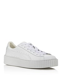 Puma Rihanna Collection Basket Patent Leather Creeper Glo Sneakers White