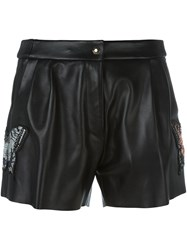 Philipp Plein Butterfly Patch Leather Shorts Black