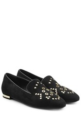 Burberry Shoes And Accessories Embellished Suede Slippers Black