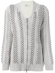 Aviu Studded Cable Knit Cardigan Nude And Neutrals