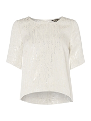 Biba Jacquard Button Up Back Blouse Silver