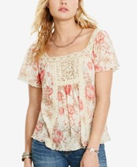 Denim And Supply Ralph Lauren Floral Print Boho Shirt Natural