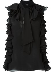 Giambattista Valli Ruffled Sleeveless Blouse Black
