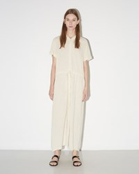 Raquel Allegra Crinkle Shirt Dress Off White