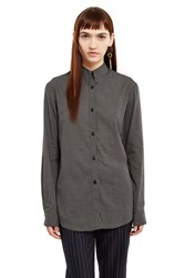 Christophe Lemaire Pointed Collar Shirt Black Cream