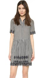 Suno Scalloped Dress Black And White Gingham