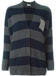Brunello Cucinelli Striped Cardigan Blue