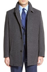 Men's Big And Tall Corneliani Classic Fit Wool And Cashmere Overcoat Medium Grey