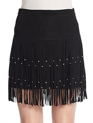 Rebecca Minkoff Flight Fringe Suede Skirt Black