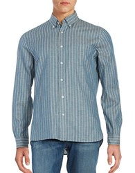 Brooks Brothers Striped Chambray Sportshirt Blue
