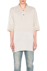 Lanvin Washed Fluid Fleece Polo In Neutrals