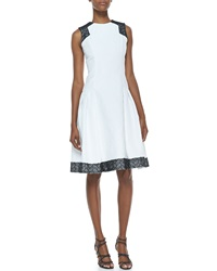 Carmen Marc Valvo Sleeveless Contrast Day Dress White Black