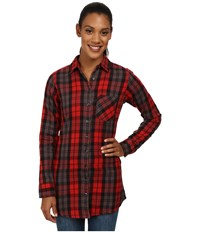 Mountain Khakis Penny Plaid Tunic Shirt Engine Red Women's Blouse