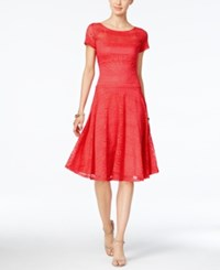 Sangria Short Sleeve Lace Fit And Flare Dress Bright Red