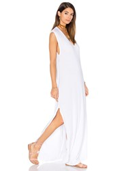 Michael Lauren Henderson V Neck Dress With Slit White