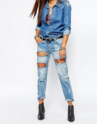 One Teaspoon Awesome Baggies Distressed Jeans In Blue Blue