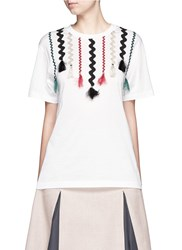 Toga Archives Squiggle Ribbon Applique Jersey T Shirt White
