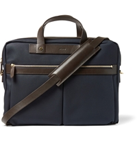 Mismo Leather Trimmed Cotton Canvas Briefcase Blue