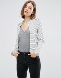 Vila Striped Sailor Blazer Pristine White