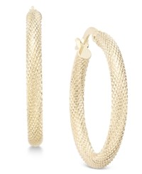 Macy's Textured Mesh Look Hoop Earrings In 10K Gold Yellow Gold