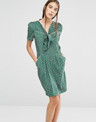 Trollied Dolly It's Bowtime Ditsy Floral Print Dress Green