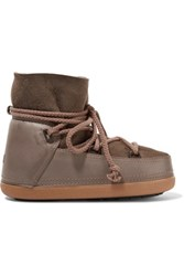 Inuikii Shearling Lined Leather And Suede Boots Taupe