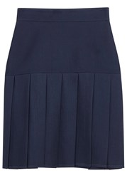 Gucci Blue Pleated Silk And Wool Blend Skirt Navy