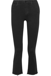 J Brand Selena Cropped Mid Rise Bootcut Jeans Black